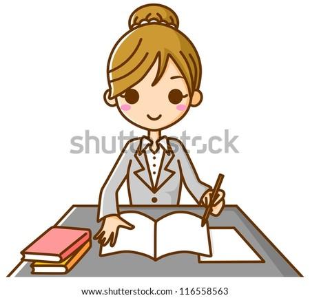 Businesswoman study - stock photo