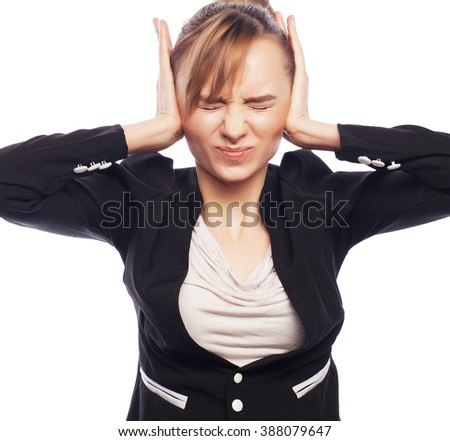 Businesswoman terrified hold hand on head - stock photo
