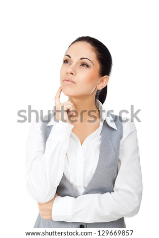 Businesswoman think looking up to empty copy space, young attractive business woman think, idea, hold hand finger on chin. Isolated over white background. concept pondering - stock photo