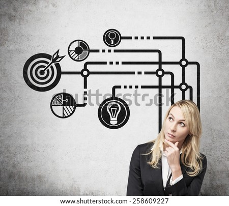 businesswoman thinking and drawing business icons over head - stock photo