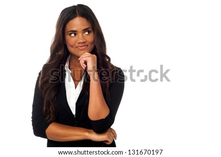 Businesswoman thinking of something. - stock photo