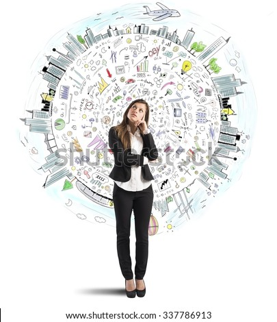 Businesswoman thinks with world business sketch background - stock photo