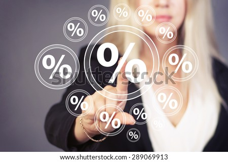 Businesswoman touch button network percent icon - stock photo