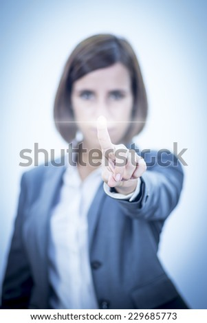 Businesswoman touching Screen Concept - stock photo