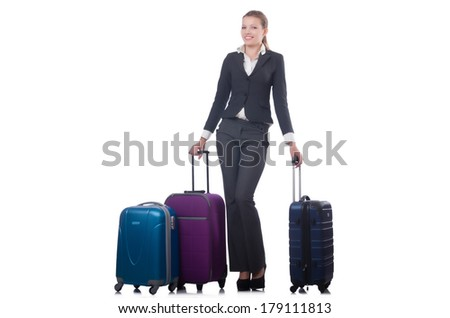 Businesswoman travelling isolated on white - stock photo