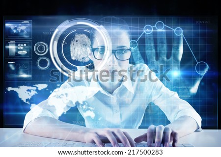 Businesswoman typing on a keyboard against digital security hand print scan - stock photo