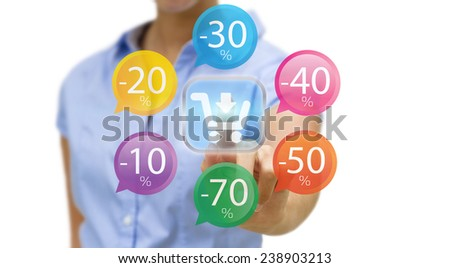 Businesswoman using digital interface to shop online - stock photo