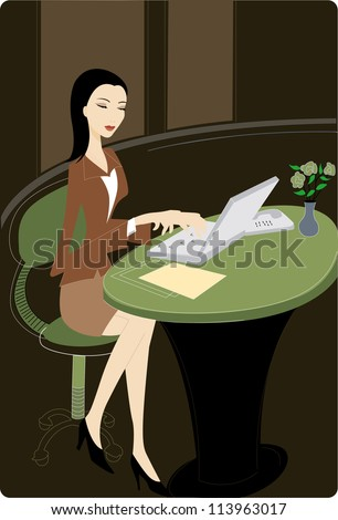 Businesswoman using her laptop - stock photo