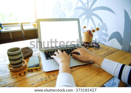 Businesswoman using laptop business planning. business, finances, economics and technology  - stock photo