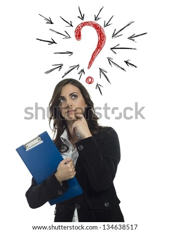 Businesswoman with a big question mark - stock photo
