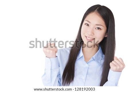 Businesswoman with a guts pose - stock photo