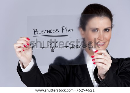 Businesswoman with a strategy plan to be successful in her business (selective focus) - stock photo
