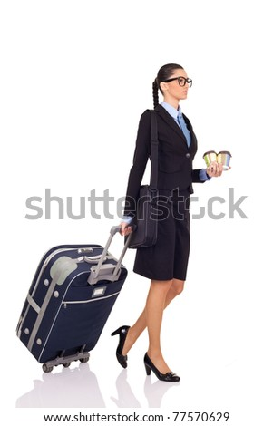 businesswoman with a suitcase and cafe on white background - stock photo