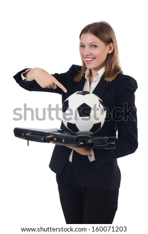 Businesswoman with ball on white - stock photo