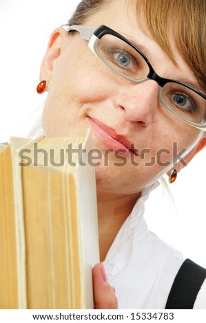 businesswoman with book in her hands on white background - stock photo