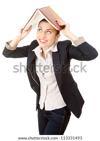 businesswoman with book over head, white background - stock photo