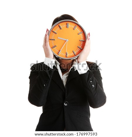 Businesswoman with clock, isolated on white - time concept - stock photo