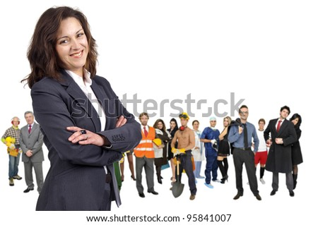 Businesswoman with crowd or group of different people isolated in white - stock photo