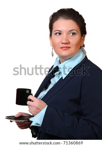 Businesswoman with cup of tea - stock photo