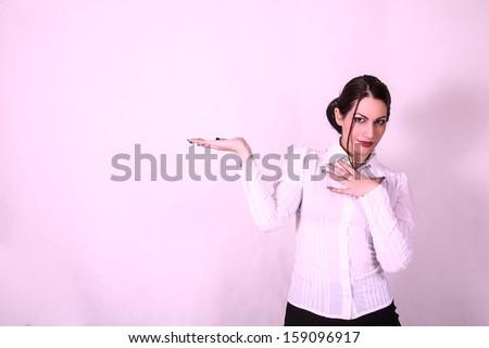 businesswoman with empty hand - stock photo