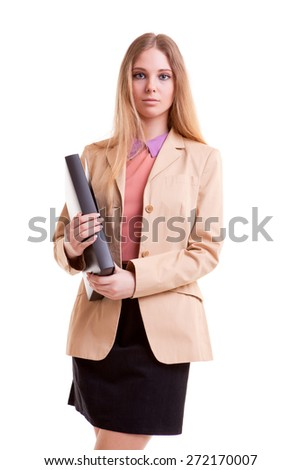 Businesswoman with folder in hands isolated over white background - stock photo
