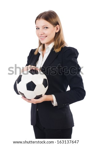 Businesswoman with football on white - stock photo