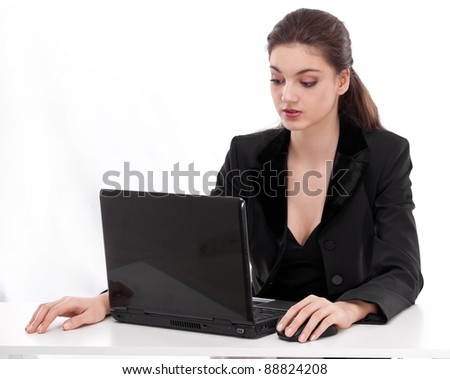 businesswoman with laptop. Isolated on a white background. - stock photo
