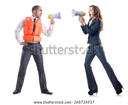 Businesswoman with loudspeaker on white - stock photo