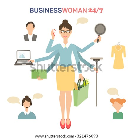 Businesswoman with many hands multitasking design concept flat illustration - stock photo