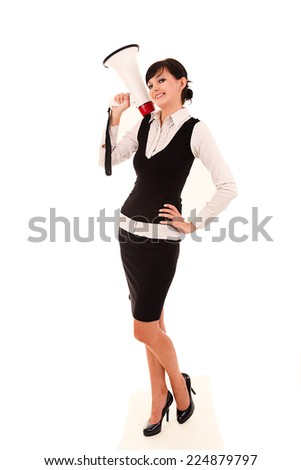 Businesswoman with megaphone, full lenght, white background. - stock photo