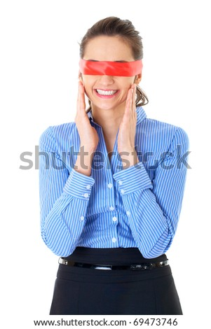 businesswoman with red ribbon on her eyes, isolated on white - stock photo