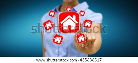 Businesswoman with red travel icons in his hand '3D rendering' - stock photo