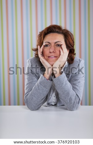 Businesswoman with stress - stock photo