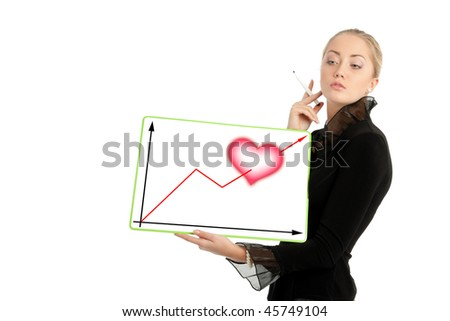 Businesswoman with Valentine's Day diagram, white background - stock photo