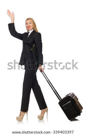 Businesswoman woman travelling with suitcase  - stock photo