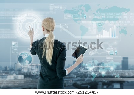 Businesswoman working on digital virtual screen, business strategy concept - stock photo