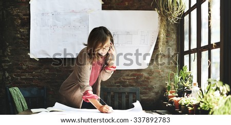 Businesswoman Working Planning Sketch Concept - stock photo