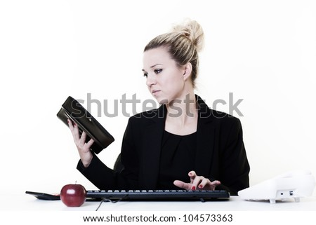 businesswoman working very hard at hes desk - stock photo