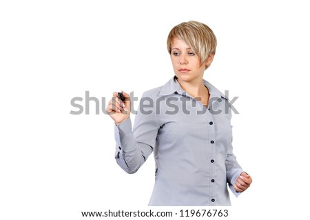 businesswoman writing on a board invisible - stock photo