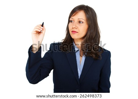 Businesswoman writing on an invisible screen isolated on white background - stock photo