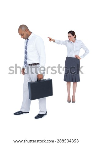 Businesswoman yelling at colleague on white background - stock photo