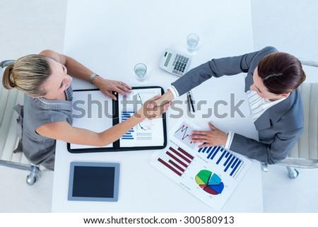 Businesswomen reaching an agreement in an office - stock photo