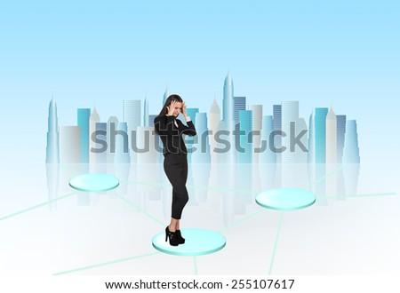 Busineswoman think on light background - stock photo