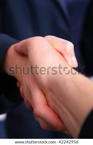 Busisness people - man and woman hand shake - stock photo