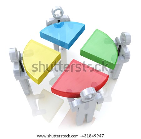 Bussines chart and people. Teamwork concept. 3d render in the design of information related to teamwork. 3d illustration - stock photo