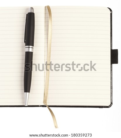 Bussines concept, blank notebook and pen - stock photo