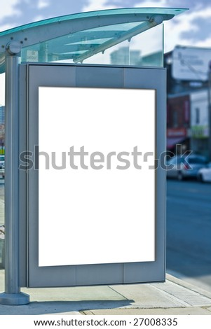 busstop with copy space for advertisement - stock photo
