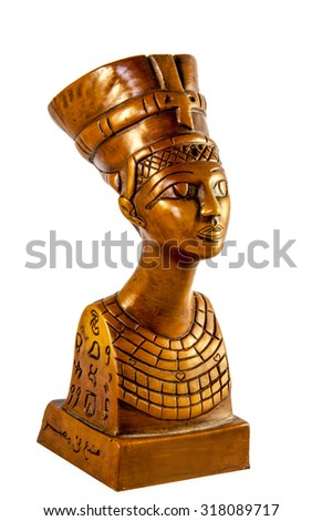 Bust of Queen Nefertiti isolated on white background - stock photo