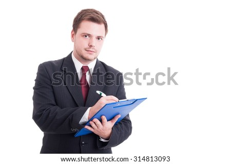 Busy and confident accountant or financial manager writing on clipboard isolated on white - stock photo