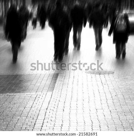 Busy big city street. Motion blurred with lens - stock photo